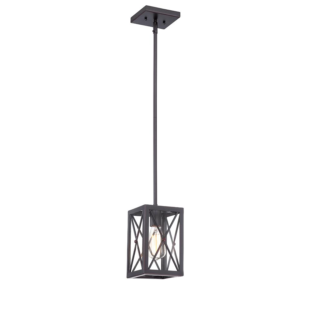 1-Light Royal Bronze Mini-Pendant with Cage Design Shade