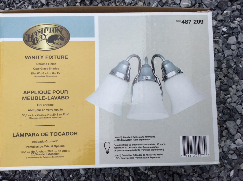 Hampton Bay 3-Light Chrome Bath Light Vanity Wall Fixture Lighting Glass Shades