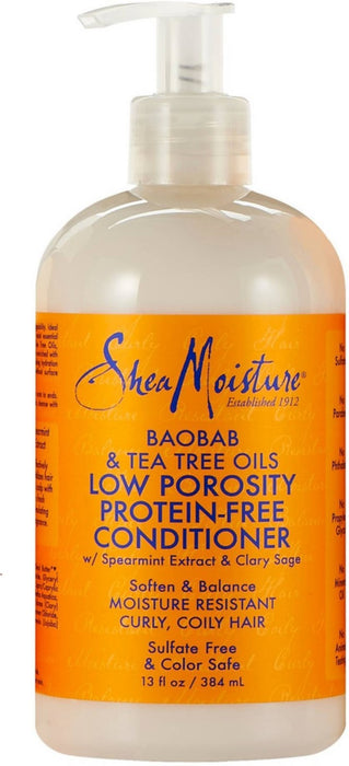 Shea Moisture Low Porosity Protein-Free Conditioner, Baobab & Tea Tree Oils 13 oz