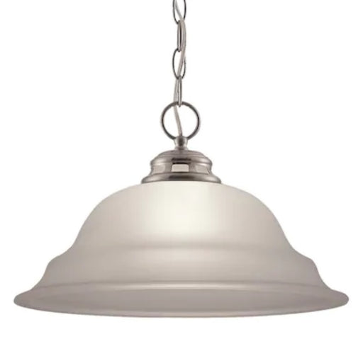 Project Source Fallsbrook 15-in W Brushed Nickel Pendant Light with Frosted Shade  FD10-056