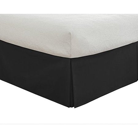 Bedding Tailored Bed Skirt Drop Length Pleated Styling Classic King Size Black