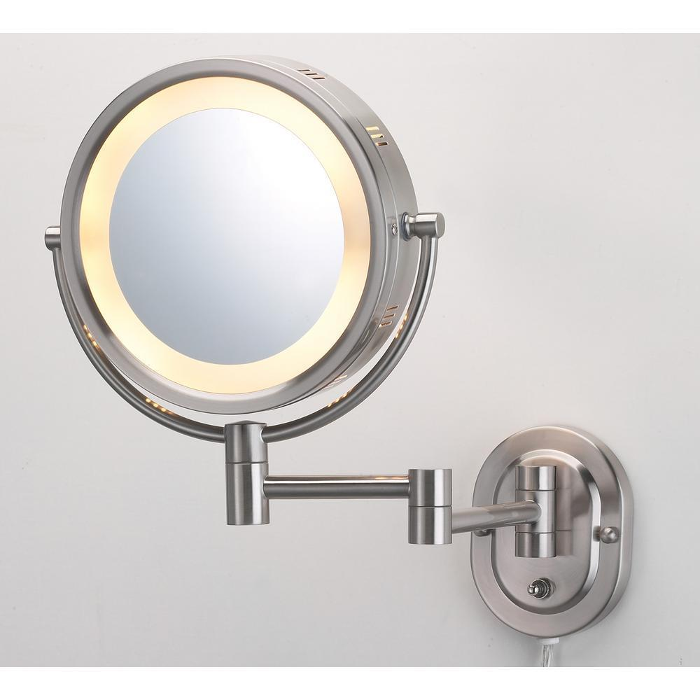 ECLIPSE 10 in. x 14 in. Lighted Wall Mirror in Nickel HL65ND
