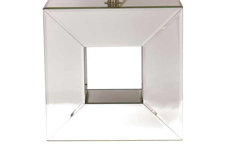 Decor Living Reflections 23 in. Mirror Table Lamp with White Linen Shade