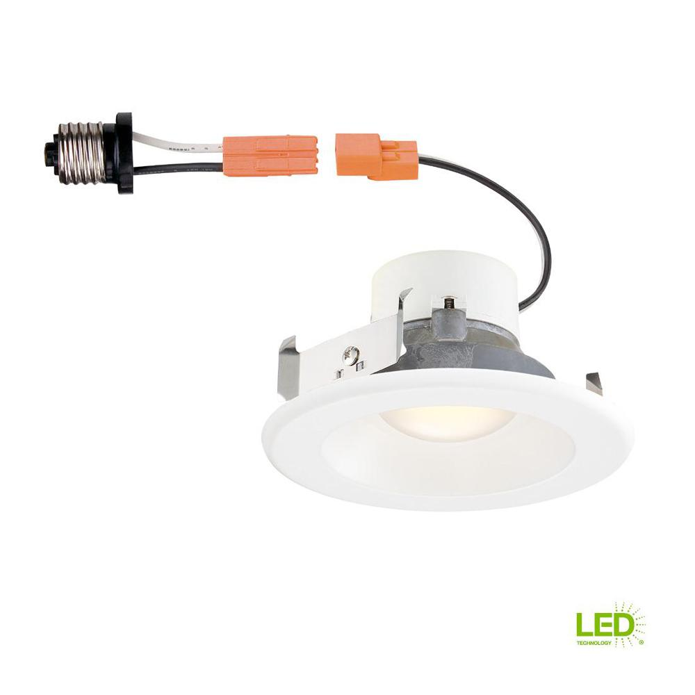 Commercial Electric 4 in. White Integrated LED Recessed Trim T40