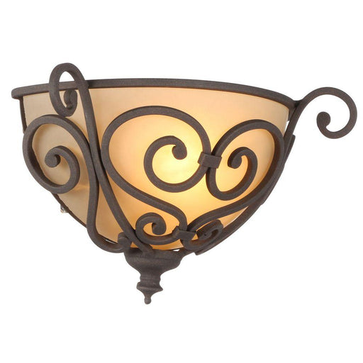 Hampton Bay 1-Light Aged Iron Half Sconce with Scavo Glass Shade (For Parts Only)
