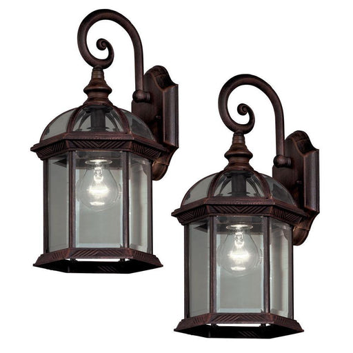 2 PACK Outdoor Bronze Porch Light Lantern Exterior Fixture Patio Wall Mount