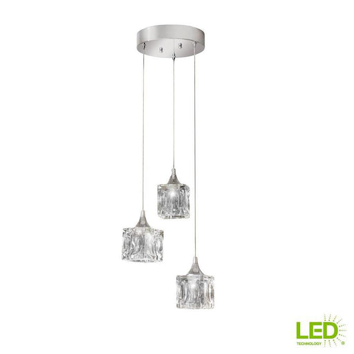 3-Light Polished Chrome Integrated LED Pendant with Clear Cube Glass