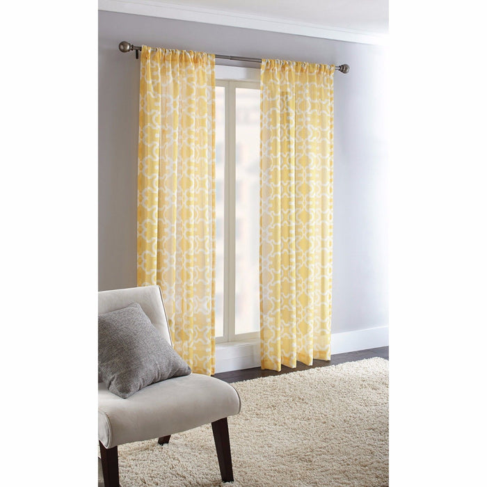 Curtain Window Geometric Rod Pocket Sheffield Semi Sheer Yellow Panel 50x84 NEW