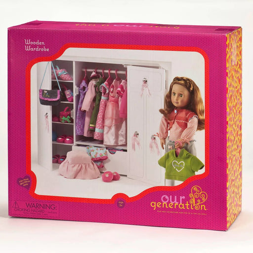 "Our Generation Wooden Wardrobe-closet For 18"" Dolls-Brand New"