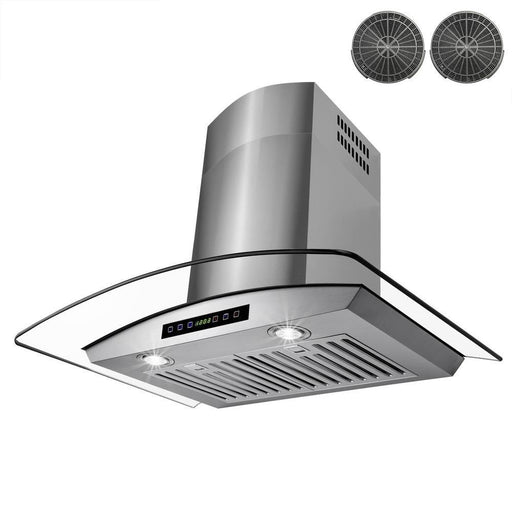 30 in. Convertible Wall Mount Range Hood in Stainless Steel with Tempered Glass