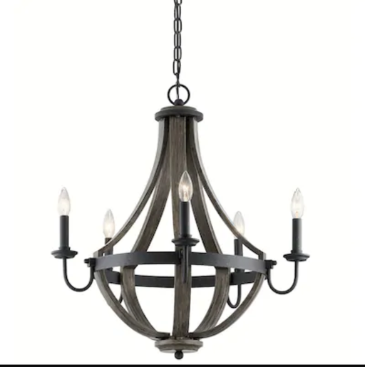 Kichler Merlot 5-Light Distressed Black and Wood Farmhouse Candle Chandelier