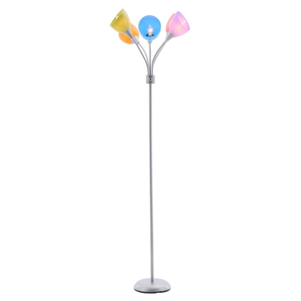 67 in. 5-Arm Silver/Painted Floor Lamp The box might show signs of shelf wear.