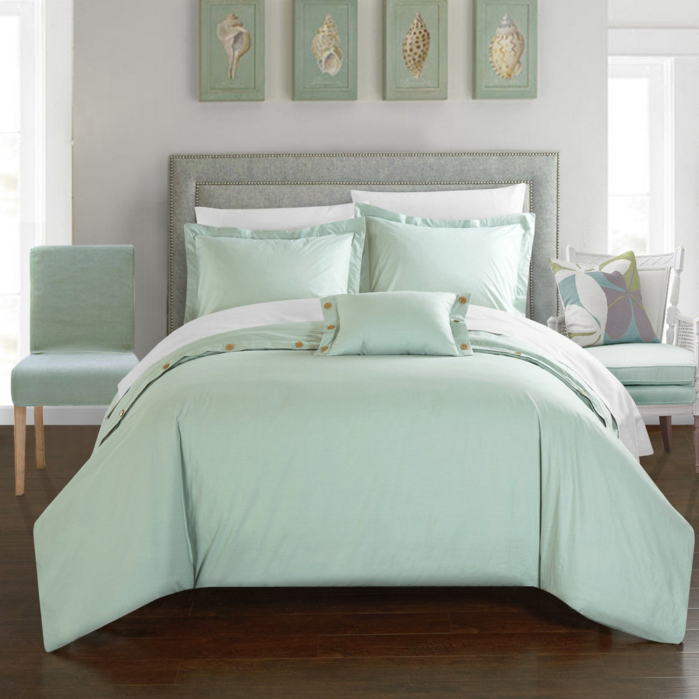 CHIC HOME HARTFORD 4 PIECE DUVET COVER SET 100% COTTON TWILL WEAVE BEDDING AQUA
