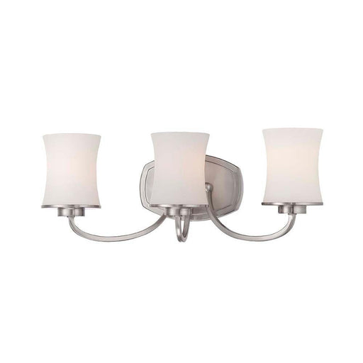 Hampton Bay Chaplinne Collection 3-Light Satin Nickel Vanity Light with Frosted White Shades (For Parts Only)