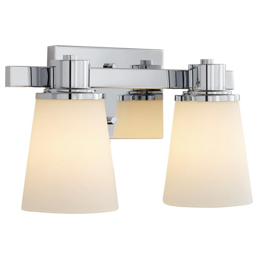 2-Light Chrome Bath Vanity Light with Bell Shaped Etched White Glass