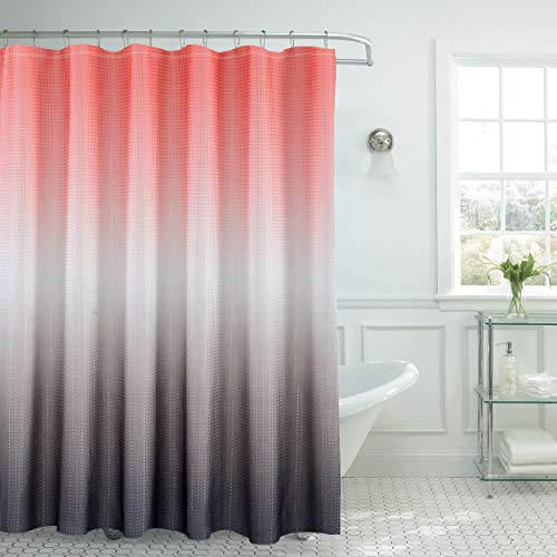 Creative Home Ideas Ombre Waffle Weave Shower Curtain Set, Coral/Grey