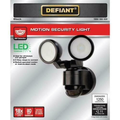 Defiant 180 Degree Black Motion Activated Outdoor Integrated LED Twin Head Light