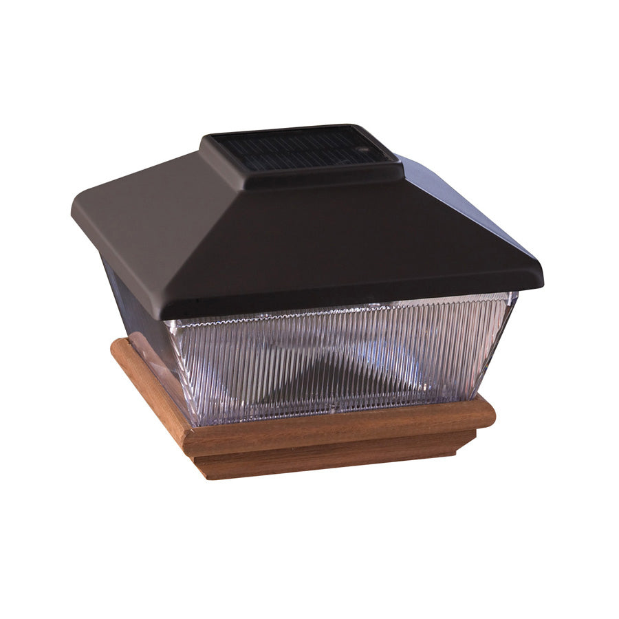 Black Solar LED Plastic Pine Deck Post Cap