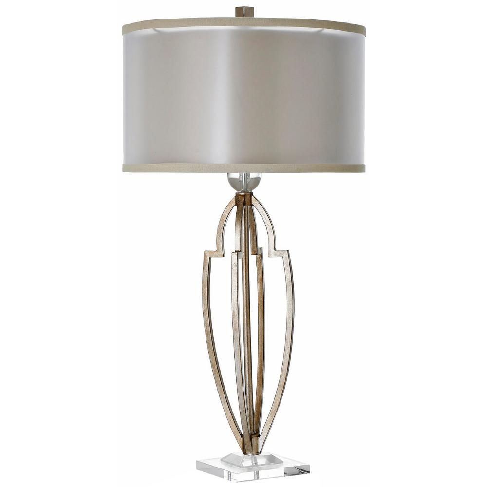 Decor Living Empire 33 in. Antique Brass Table Lamp with Double Shade