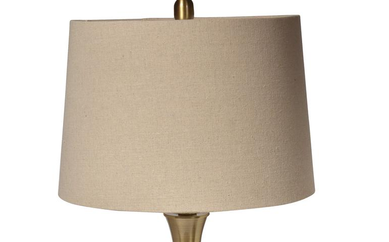 Decor Living Marin 28.75 in. Antique Brass Table Lamp with Natural Shade