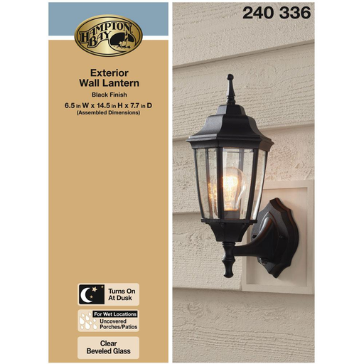 1-Light Black Dusk-to-Dawn Outdoor Wall Lantern
