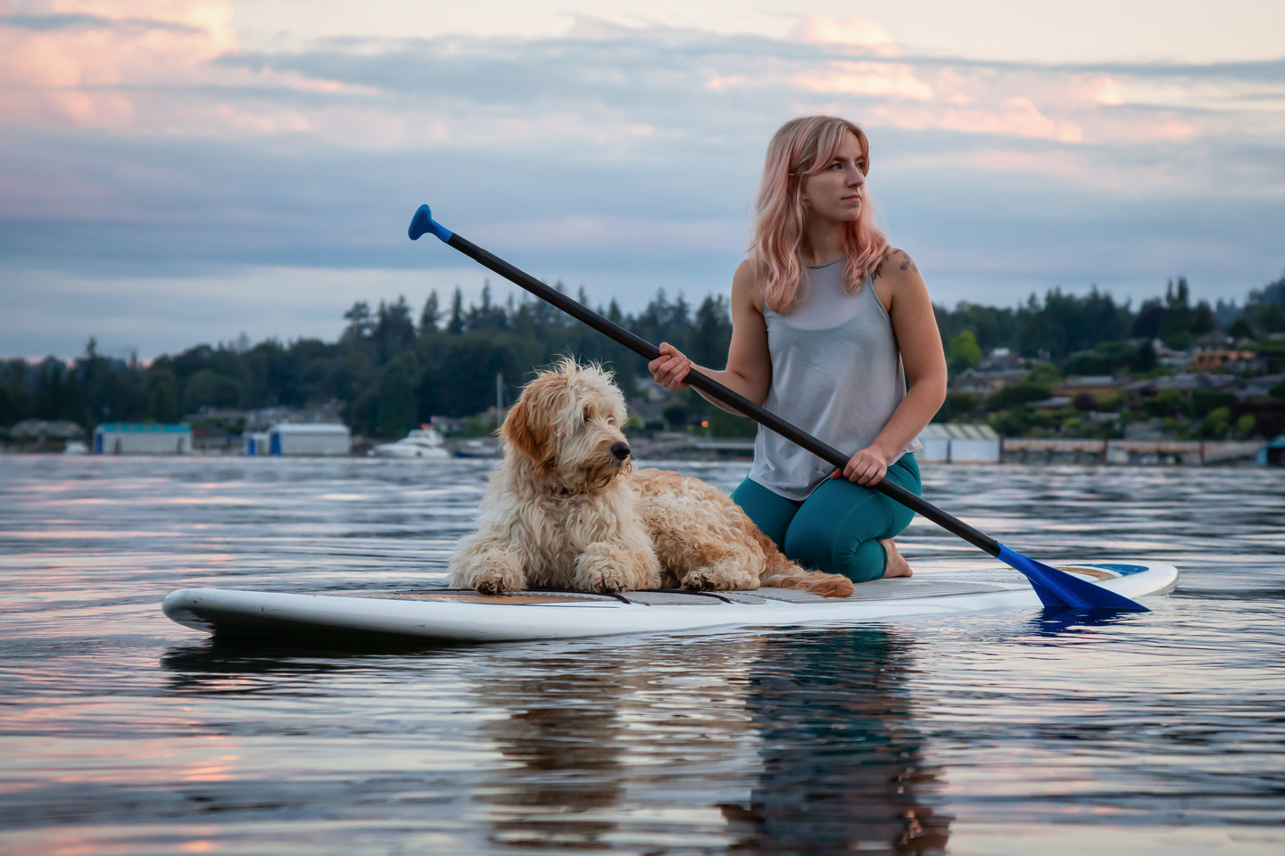 Woman with dog on top of a paddle board in the middle of a beautiful lake.