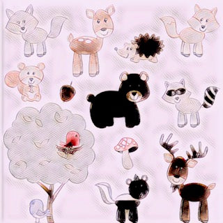 Cartoon with figures of small wild animals such as bears, racoons, foxes, squirrels, birds, moose, skunks.