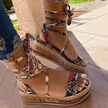 Carregar imagem no visualizador da galeria, Cultural Open Toe Lace-Up Platform Sandals