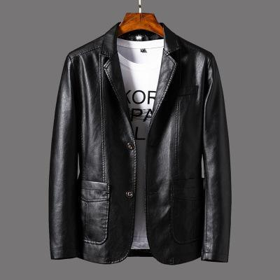 Slim Suit PU Leather Jacket for Men