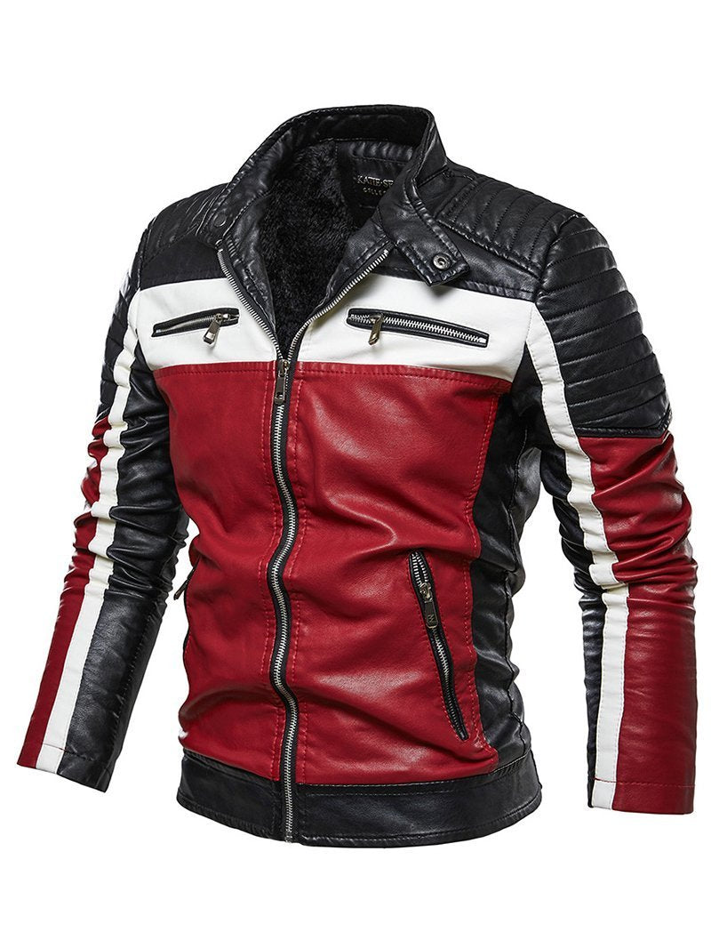 50% OFF-Contrast Leather Biker Jacket