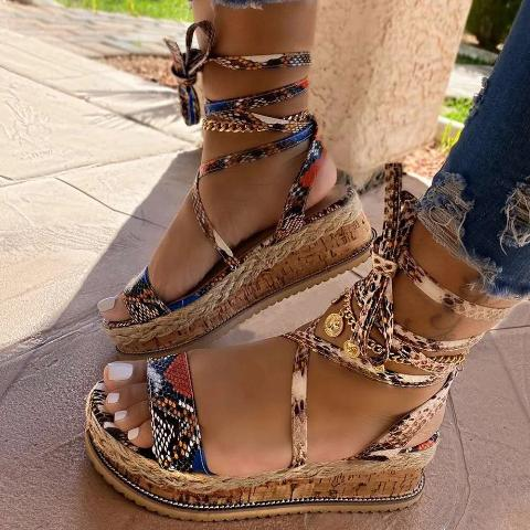 Cultural Open Toe Lace-Up Platform Sandals