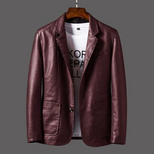 Carregar imagem no visualizador da galeria, Slim Suit PU Leather Jacket for Men