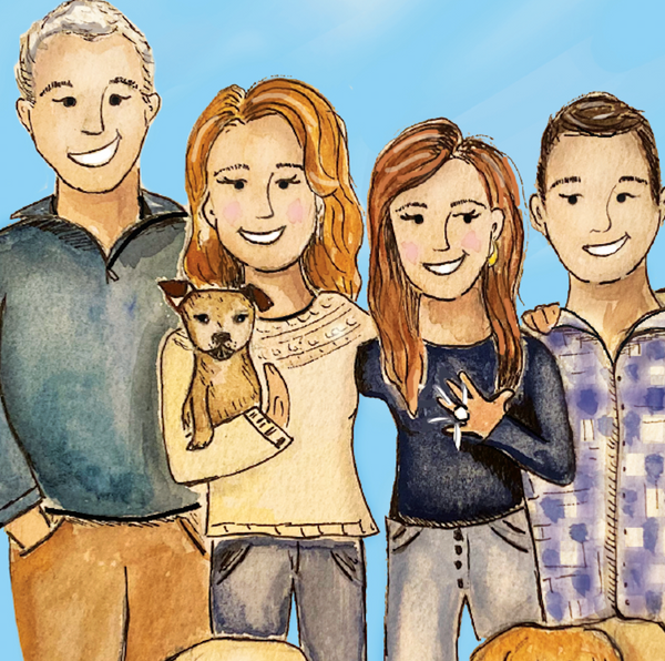 Custom Fam Watercolor Illustration