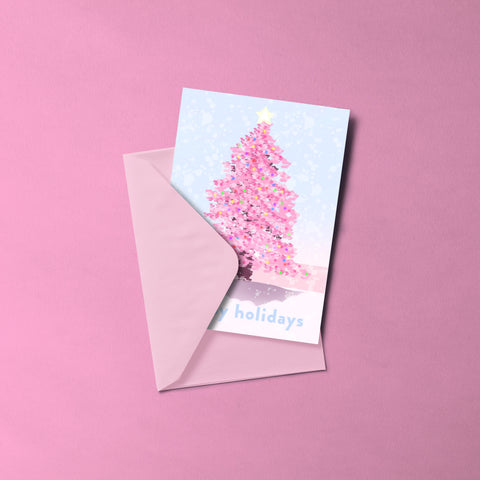 Pink Christmas Tree Card Set (10)