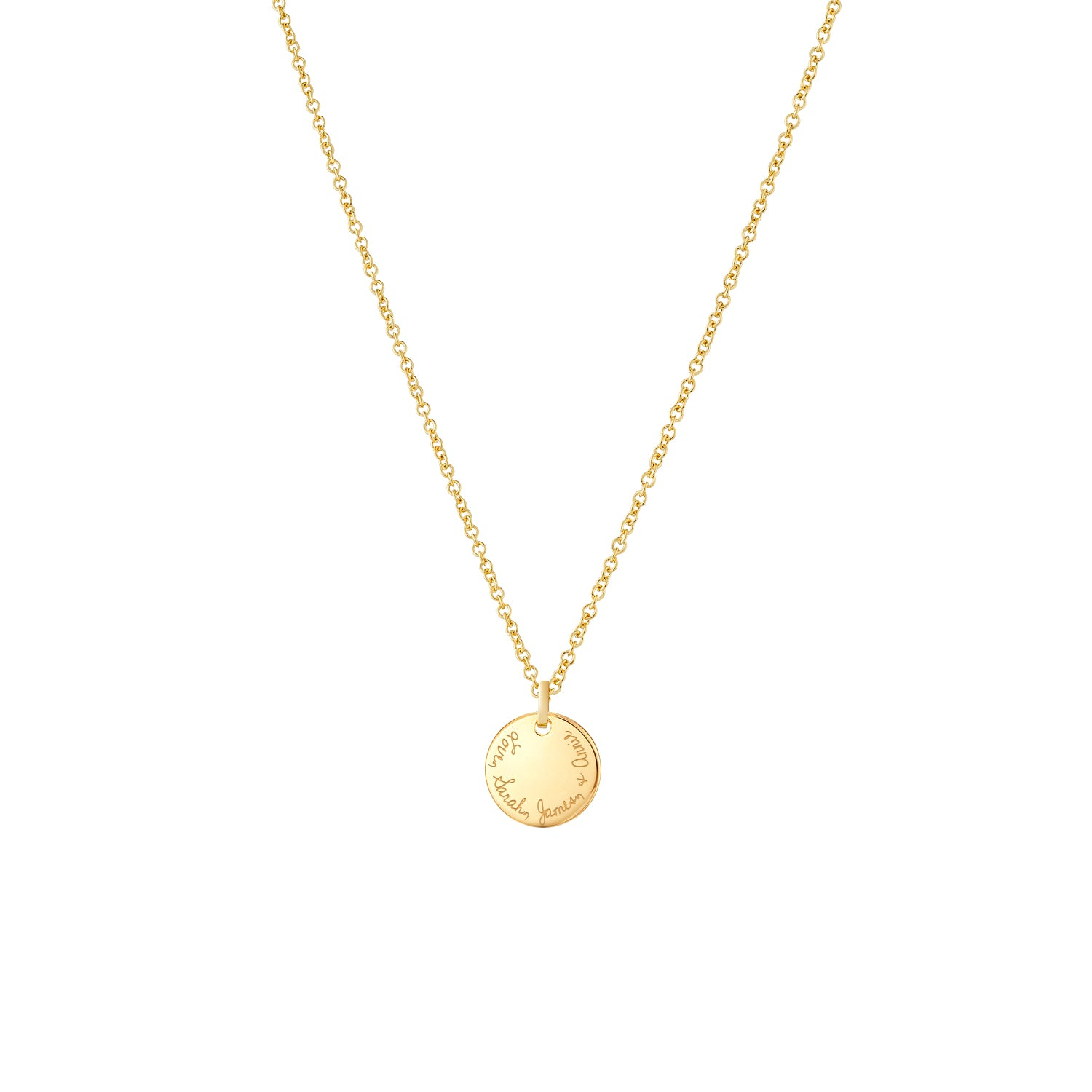 Hand Engraved 14k Gold Disc Necklace