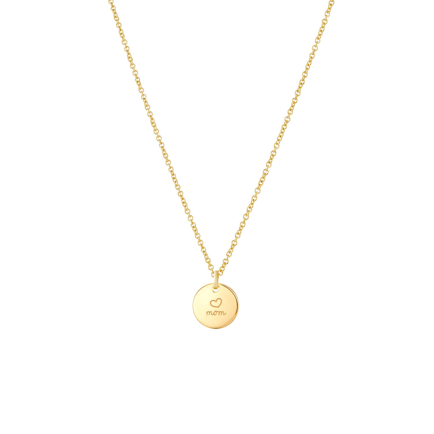Hand Engraved 14k Gold Mothers Necklace