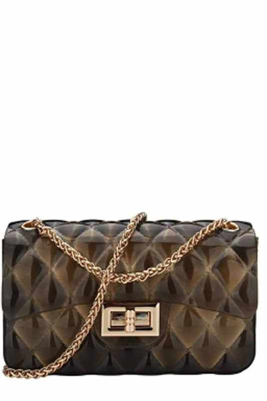 Gold Trimmed Quilted Ombre Jelly Handbag - Touch Me Textures
