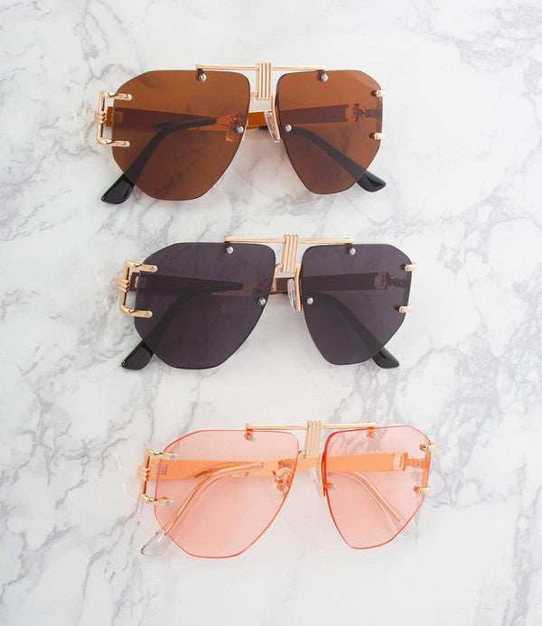 Nicky Oversized Rimless Aviators - Touch Me Textures