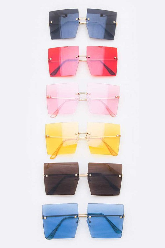 Asha Rimless Square Sunglasses - Touch Me Textures