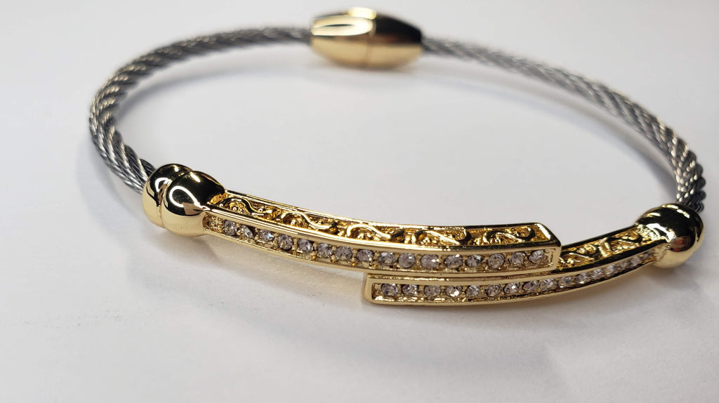 Pave Rhinestone Gold Bars Cable Magnetic Bracelet - Touch Me Textures