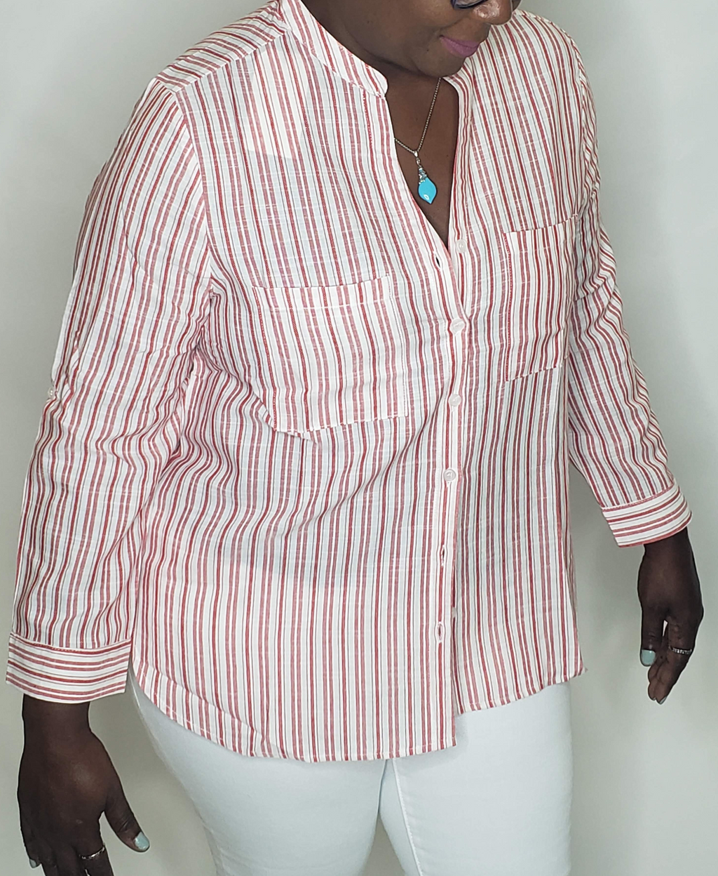 Peppermint Striped Blouse - Touch Me Textures