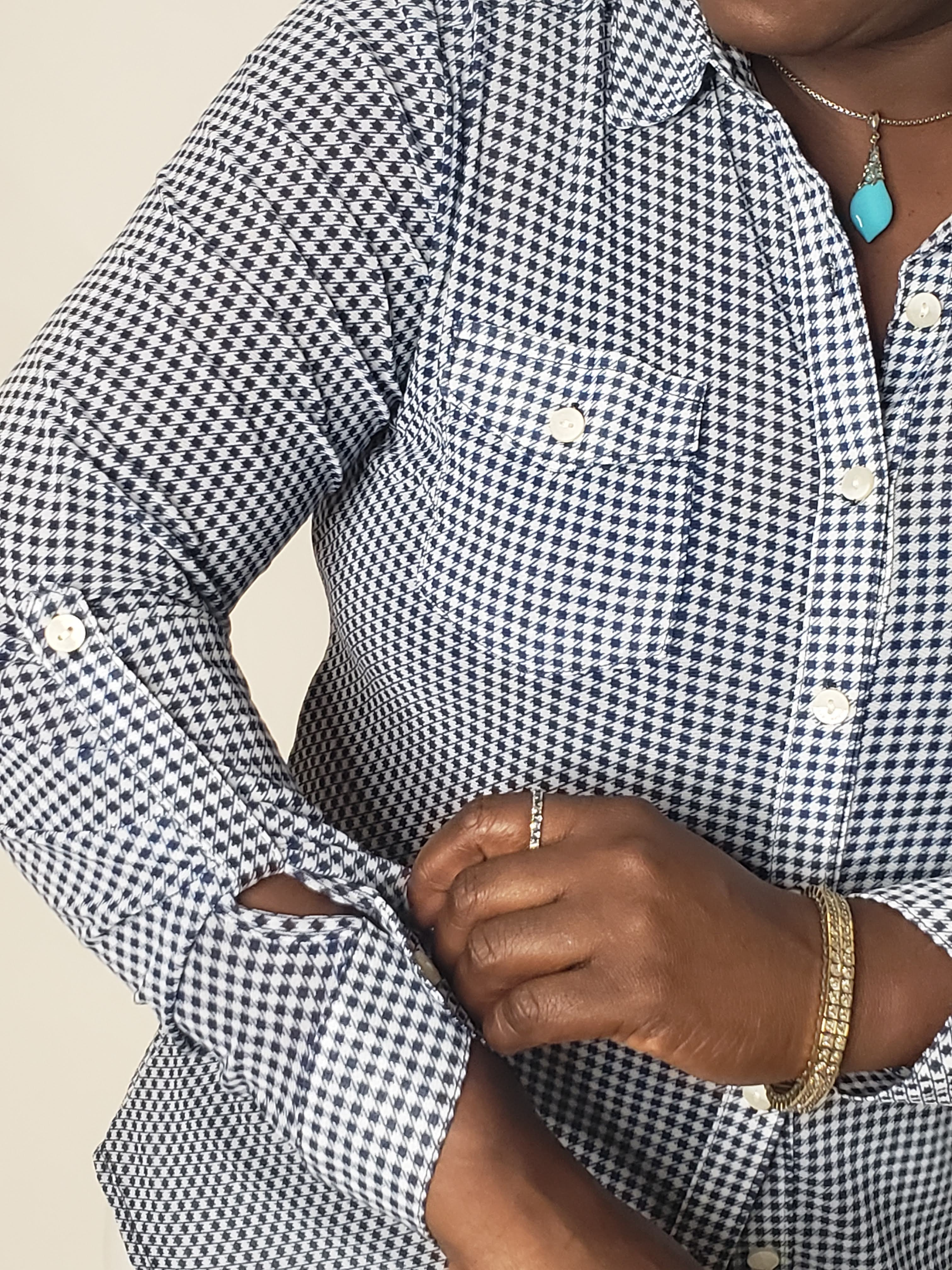 Gingham Stretch Blouse Navy White - Touch Me Textures