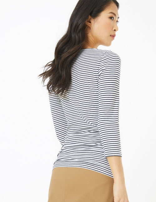 Cotton Striped Fitted 3/4 Sleeve Top