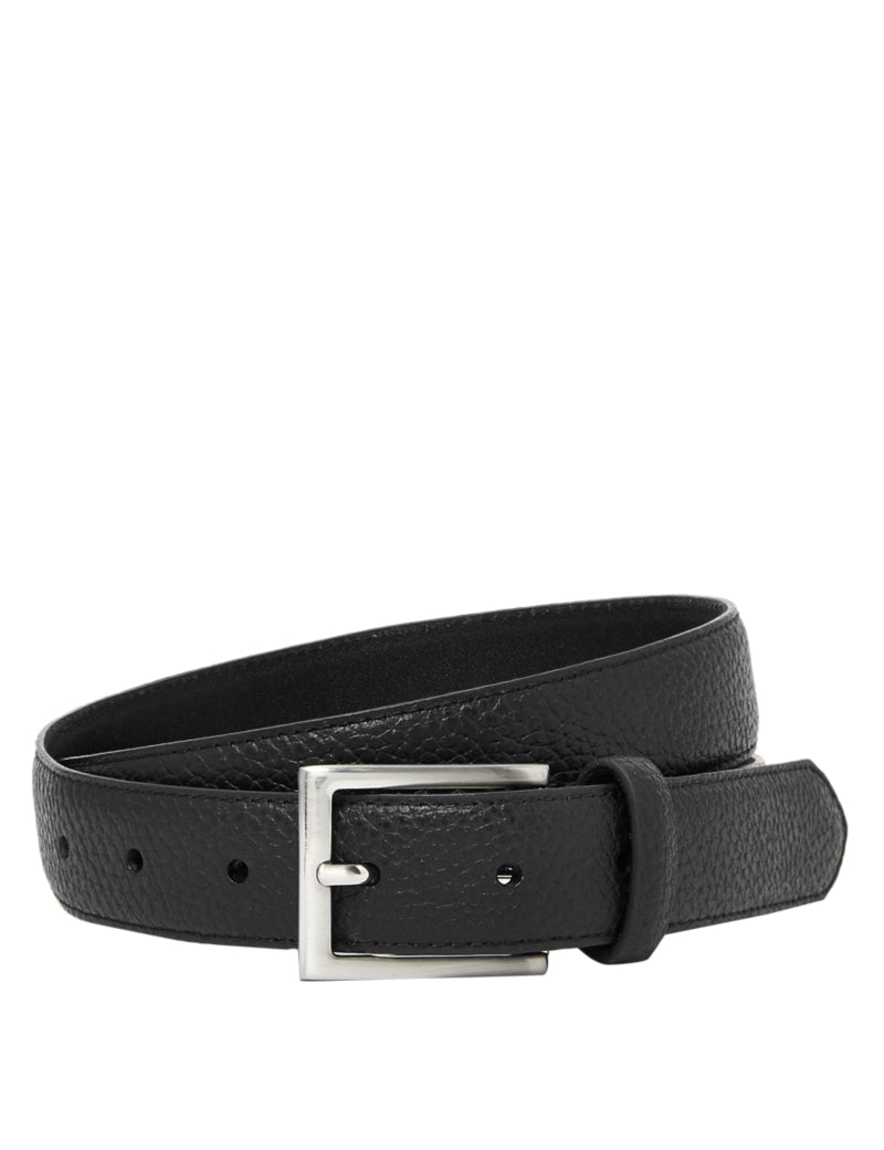 Textured Leather Slim Belt