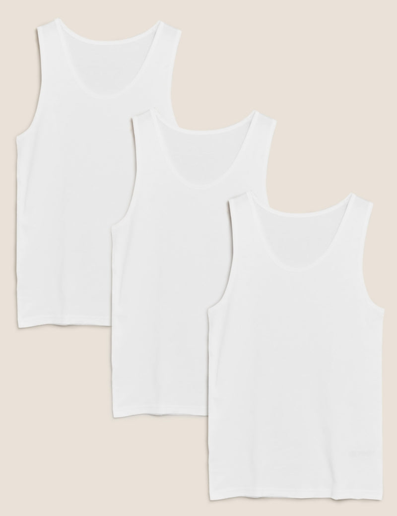 3 Pack Pure Cotton Sleeveless Vests
