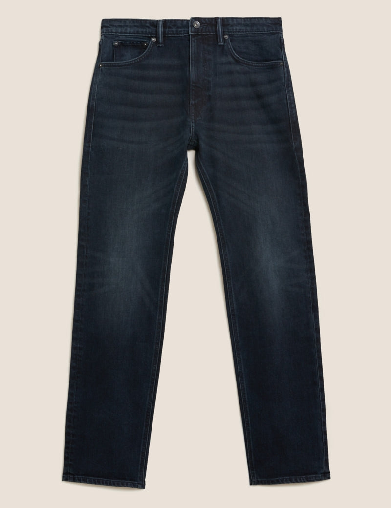 Straight Vintage Wash Stretch Jeans