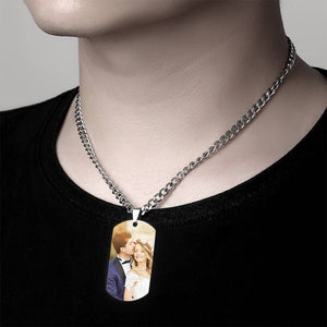 Men's Stainless Steel Dog Tag Photo Pendant