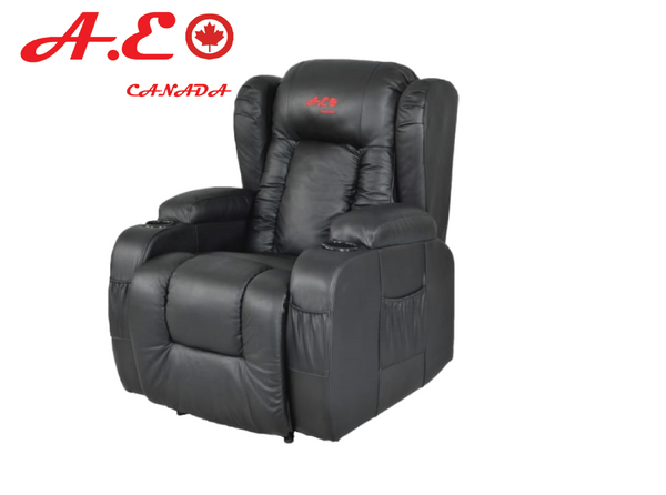 A.E CANADA MENUAL RECLINER SOFA BLACK LEATHER