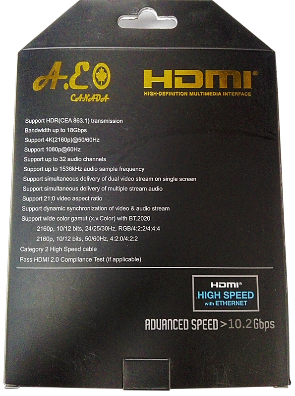 A.E Canada 4K Ultra HD HDMI Cable 2.0   1.8 Meter