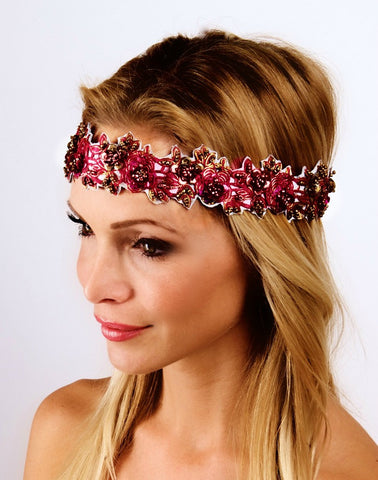 The Maroon Garden Party Headpiece